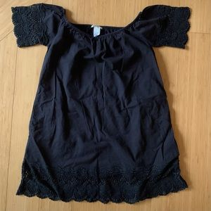 Esley Black Crochet Lace Trim Cotton Dress sz S